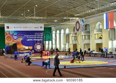 ST. PETERSBURG, RUSSIA - MAY 6, 2015: International freestyle wrestling tournament Victory Day in Mikhailovsky manege. This traditional competitions dedicated to the Victory in WWII