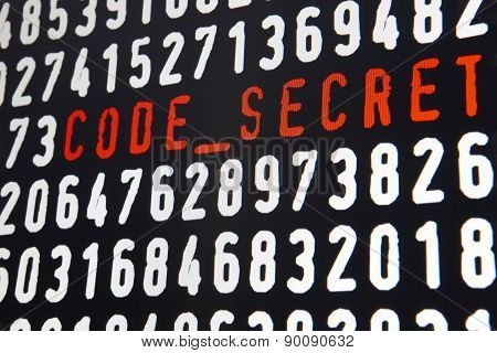 Computer Screen With Code Secret Text On Black Background