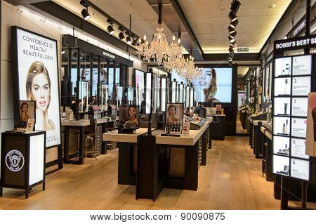 HONG KONG - MAY 05, 2015: Bobbi Brown Cosmetics boutique interior. Hong Kong's cosmetics market is highly competitive and having no sales taxes