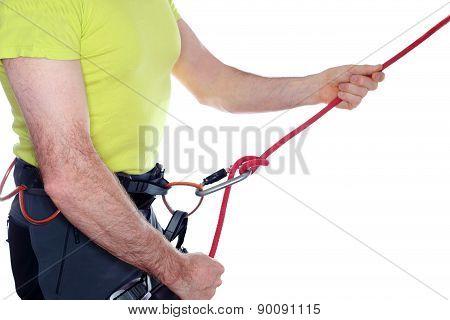 Belaying Climber
