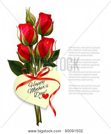 Three red roses with a heart-shaped Happy Mother's Day note and red ribbon. Vector.