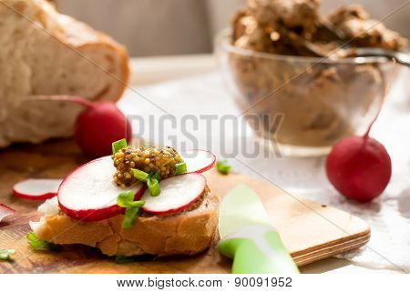 Sandwich With Chicken Liver Pate And Radishes