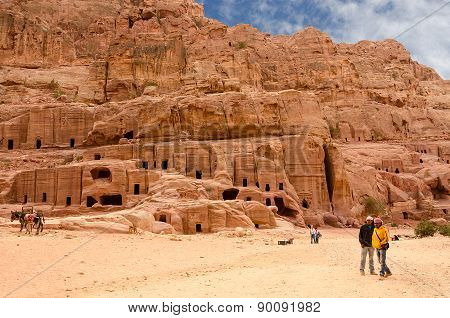 Jordan, Petra, Ancient Necropolis Carved Into The Rock
