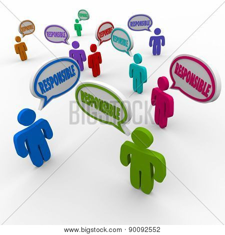 Responsible word in speech bubbles over people's heads in group, team or workforce to share or spread blame or accountability