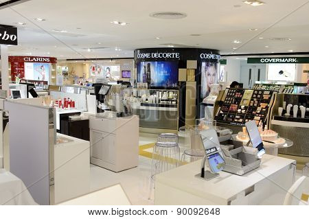 HONG KONG - MAY 05, 2015: cosmetics boutique interior. Hong Kong�¢�?�?s cosmetics market is highly competitive and having no sales taxes
