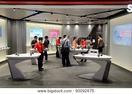 HONG KONG - MAY 05, 5015: SmarTone store interior. SmarTone Telecommunications Holdings Limited is a wireless communications carrier with operating subsidiaries in Hong Kong and Macau.