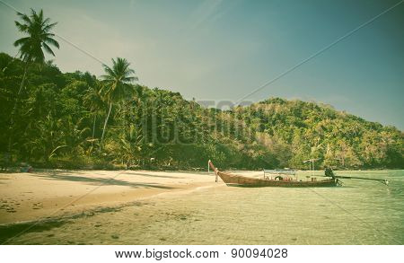 Longtail boats on the beautiful beach, Thailand - retro style postcard