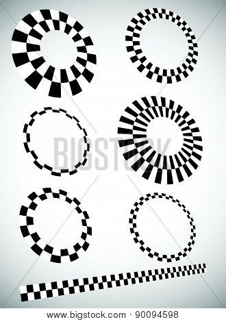 Different Checkered (chequered) Elements In 3D With Perspective. Vector.