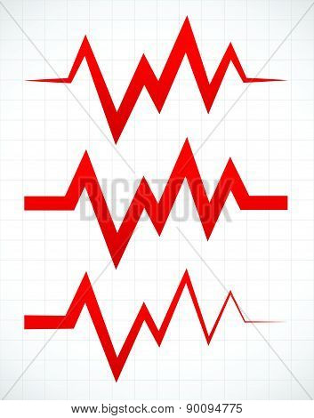 Irregular Pulsating Or Ecg Lines Over Gridded Background