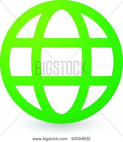 Green Grid, Wire Frame Globe Vector Icon, Symbol