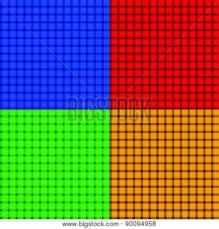 Set Of Colorful Seamlessly Repeatable Patterns With Intersecting Lines.
