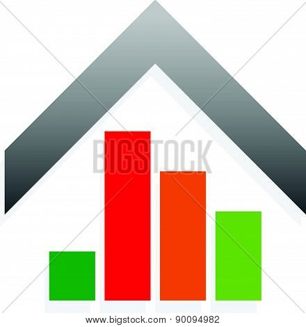 House Icon With Bar Chart, Bar Graph For Value, Price Or Energy Rating Concepts.