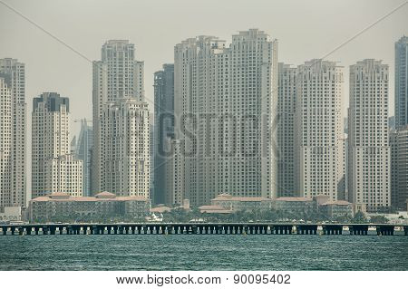 Business center of Dubai from the sea