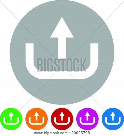 Upload Button, Upload Icon. Arrow Pointing Up From Hard Drive, Vector
