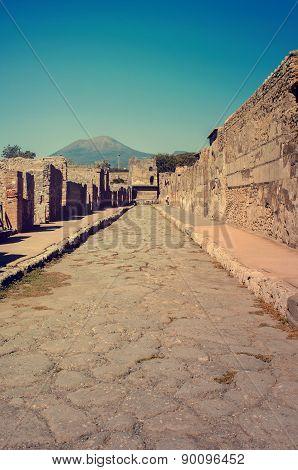 Volcano Mount Vesuvius In Pompeii