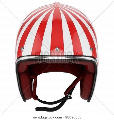 Motorcycle helmet red white classic