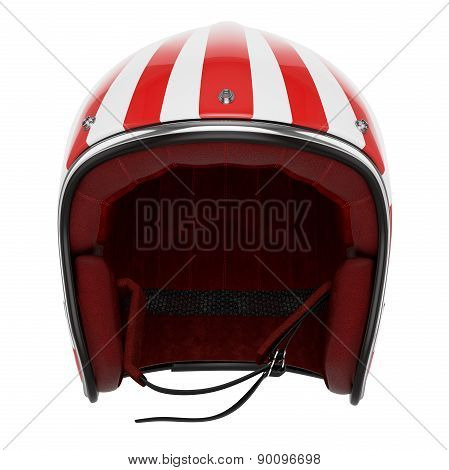 Motorcycle helmet red white front view
