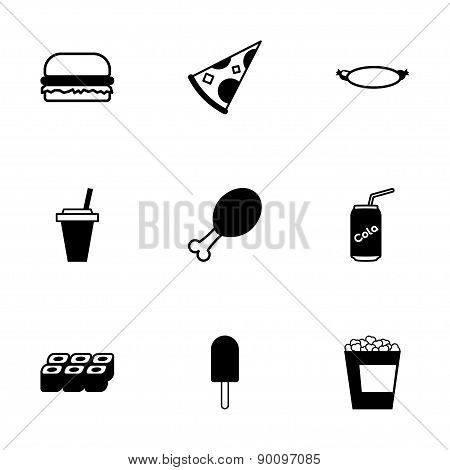 Vector black fastfood icon set