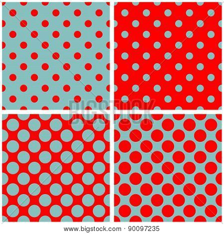 Tile vector pattern set with polka dots on mint blue and red background
