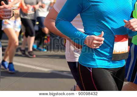 Marathon running race, runners on road