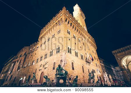 Palazzo Vecchio At Night, Florence, Italy