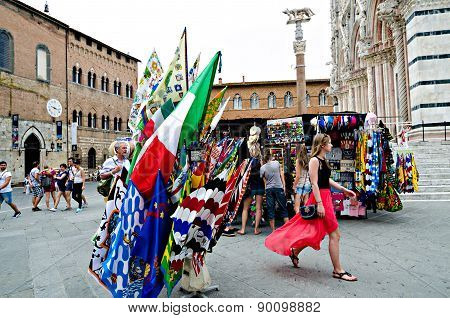 Selling Flags To The Palio Of Siena