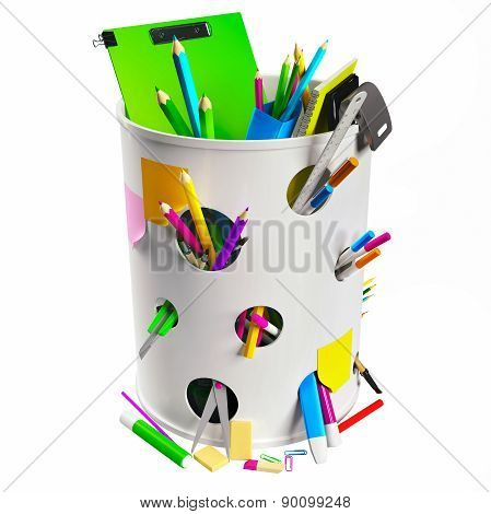 Trash can with pencils