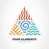 foto of pyramid shape  - Four elements simple line symbol in pyramid shape - JPG