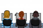 picture of teenagers  - Illustration of Teenage Students Using Computers at the Computer Laboratory - JPG