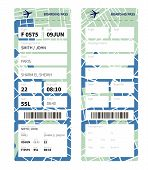 stock photo of boarding pass  - Airline boarding pass ticket with a map as a background - JPG