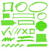 stock photo of stroking  - Set of hand drawn highlighter design elements marks stripes and strokes - JPG