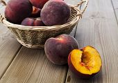 foto of peach  - Peach on wooden table Nutritious and healthy food - JPG