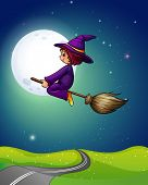foto of broom  - Witch flying a broom in the dark night of fullmoon - JPG