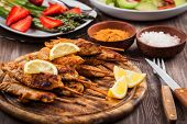 image of marinade  - Grilled chicken skewers with lemon marinade and spices - JPG