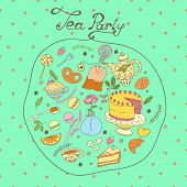 picture of tea party  - Tea party vector pattern set - JPG
