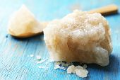 stock photo of crust  - Crust of sea salt from Dead Sea coast - JPG