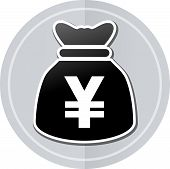 picture of yen  - Illustration of yens bag sticker icon simple design - JPG