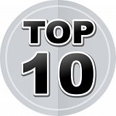 picture of ten  - Illustration of top ten sticker icon simple design - JPG