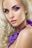 foto of eyebrows  - Glamour portrait of beautiful woman model with fresh daily makeup and romantic wavy hairstyle - JPG