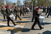 Постер, плакат: Military orchestra plays on Victory Day parade