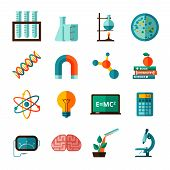 Постер, плакат: Science icons flat icons set