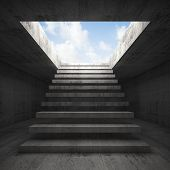 picture of stairway  - Stairway to heaven abstract empty dark concrete 3d illustration interior background front view - JPG