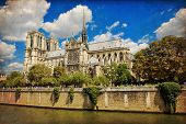 picture of notre dame  - The Cathedral of Notre Dame de Paris in vintage style France - JPG