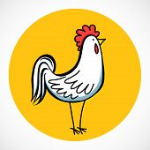 picture of rooster  - Hand drawn cartoon rooster isolated on bright yellow circle - JPG