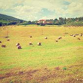 stock photo of hay bale  - Tuscany Landscape with Many Hay Bales on the Background of the Italian Village Vintage Style Toned Picture - JPG