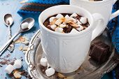 picture of milk  - Delicious chocolate milk made from almond milk with marshmallow and almond chips - JPG