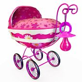 stock photo of covered wagon  - Made in fine shape pink baby wagon - JPG
