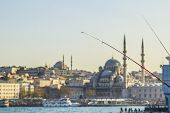 stock photo of street-rod  - view of the Eminonu and Mosque from Galata Bridge in Istanbul - JPG