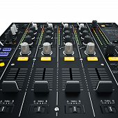 picture of mixer  - Dj mixer with glowing yellow - JPG