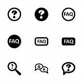 image of faq  - Vector black faq icon set on white background - JPG